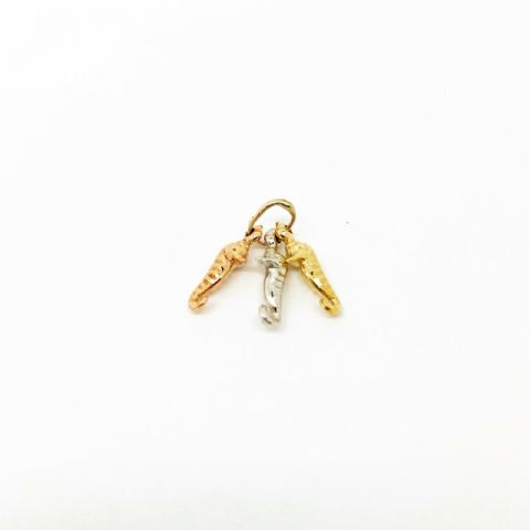 Genuine Small 9ct Three Colour Yellow/ Rose/ White Gold Three Seahorses Charm